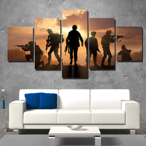 US Military Silhouettes 5 Panel Soldier Sunset Canvas Wall Art Print Poster-166 (2)