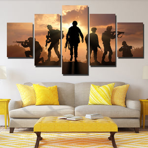 US Military Silhouettes 5 Panel Soldier Sunset Canvas Wall Art Print Poster-166 (3)