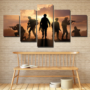US Military Silhouettes 5 Panel Soldier Sunset Canvas Wall Art Print Poster-166 (4)