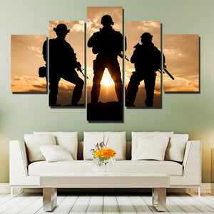 United States Army Rangers in Action 5 Panel Sunset Landscape Canvas Print Art-168 (1)
