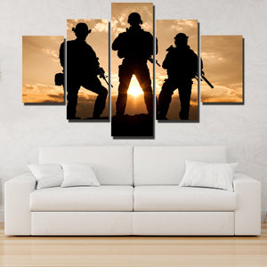 United States Army Rangers in Action 5 Panel Sunset Landscape Canvas Print Art-168 (2)