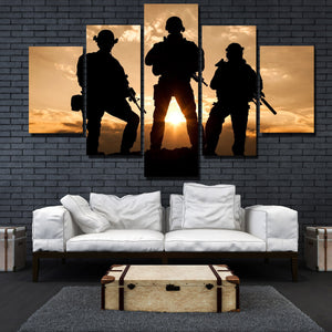 United States Army Rangers in Action 5 Panel Sunset Landscape Canvas Print Art-168 (3)