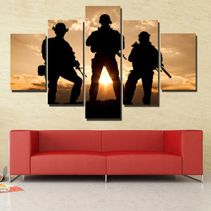 United States Army Rangers in Action 5 Panel Sunset Landscape Canvas Print Art-168 (4)
