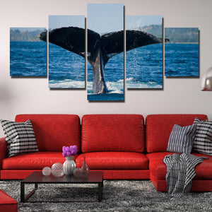 Whale Tail Painting Picture 5 Panel Canvas Printed Seascape Wall Art-121 (1)
