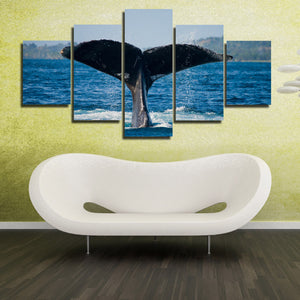 Whale Tail Painting Picture 5 Panel Canvas Printed Seascape Wall Art-121 (2)
