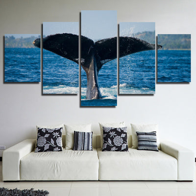 Whale Tail Painting Picture 5 Panel Canvas Printed Seascape Wall Art ...