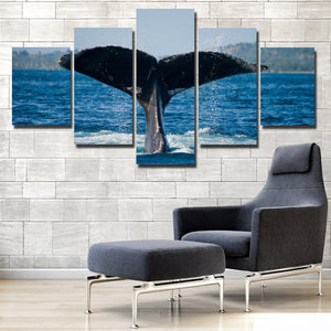Whale Tail Painting Picture 5 Panel Canvas Printed Seascape Wall Art-121 (3)