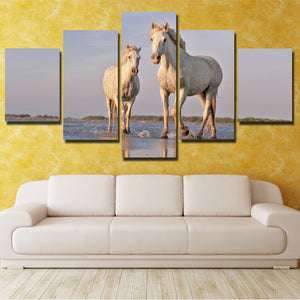 White Horse Painting 5 Panel Modern Canvas Print Art Picture Decor-129 (1)
