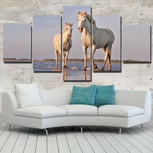 White Horse Painting 5 Panel Modern Canvas Print Art Picture Decor-129 (2)