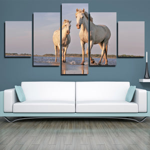 White Horse Painting 5 Panel Modern Canvas Print Art Picture Decor-129 (3)