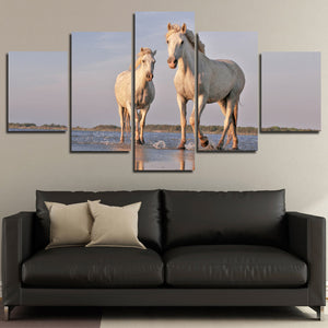 White Horse Painting 5 Panel Modern Canvas Print Art Picture Decor-129 (4)