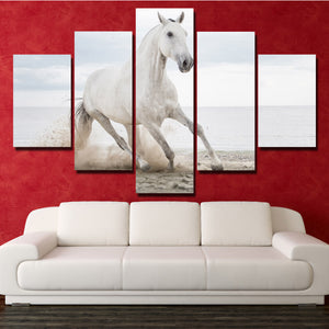 White Horse Runs On Beach 5 Panel Canvas Print Painting Wall Art Picture-127 (1)