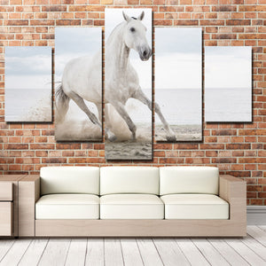 White Horse Runs On Beach 5 Panel Canvas Print Painting Wall Art Picture-127 (2)