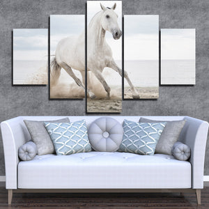 White Horse Runs On Beach 5 Panel Canvas Print Painting Wall Art Picture-127 (3)