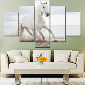 White Horse Runs On Beach 5 Panel Canvas Print Painting Wall Art Picture-127 (4)