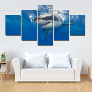 White Shark Swimming Print Picture 5 Panel Modern Canvas Wall Art Painting-116 (1)