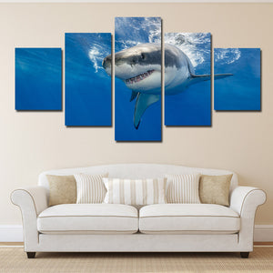 White Shark Swimming Print Picture 5 Panel Modern Canvas Wall Art Painting-116 (2)