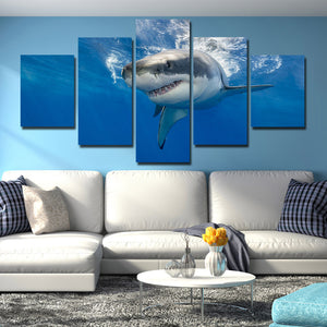 White Shark Swimming Print Picture 5 Panel Modern Canvas Wall Art Painting-116 (3)