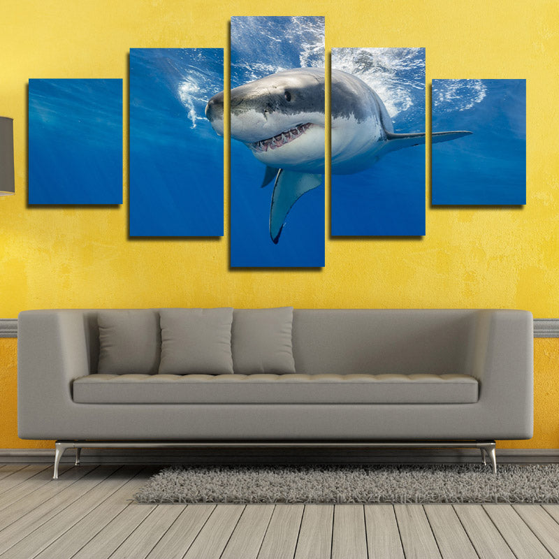 White Shark Swimming Print Picture 5 Panel Modern Canvas Wall Art ...