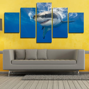 White Shark Swimming Print Picture 5 Panel Modern Canvas Wall Art Painting-116 (4)