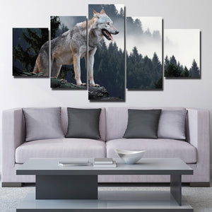 Wolf Hunting Poster 5 Piece Canvas Print Animal Picture-110 (1)