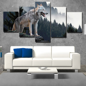 Wolf Hunting Poster 5 Piece Canvas Print Animal Picture-110 (2)