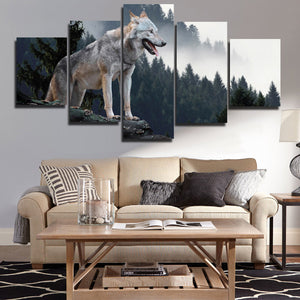 Wolf Hunting Poster 5 Piece Canvas Print Animal Picture-110 (3)