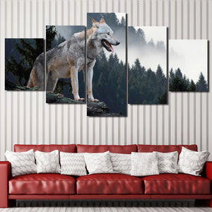 Wolf Hunting Poster 5 Piece Canvas Print Animal Picture-110 (4)