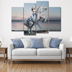 Woman with White Horse Canvas Print 4 Panel Modern Wall Art Painting-126 (1)