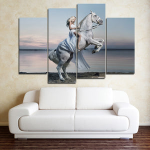 Woman with White Horse Canvas Print 4 Panel Modern Wall Art Painting-126 (2)