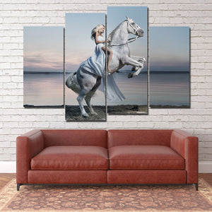 Woman with White Horse Canvas Print 4 Panel Modern Wall Art Painting-126 (3)