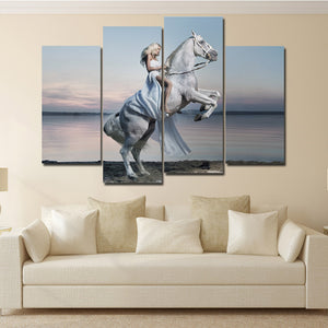 Woman with White Horse Canvas Print 4 Panel Modern Wall Art Painting-126 (4)