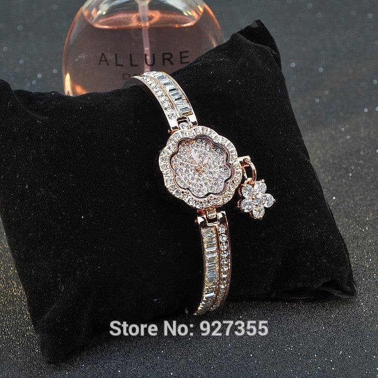 Diamond Rose Gold Silver Dress Watches