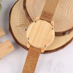 Soft Leather Bamboo Wooden Watch