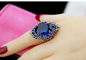 Vintage Red Blue Silver Color Ring