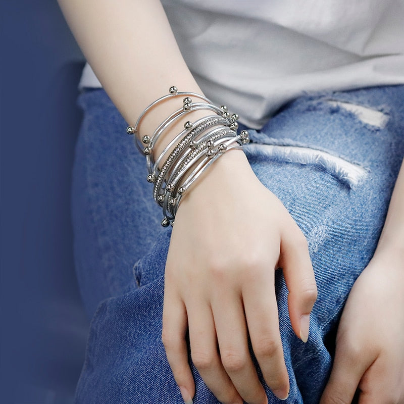 Amorcome Multilayer Leather Bracelet