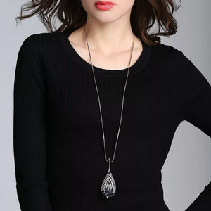 Waterdrop Shaped Big Pendant Necklace