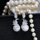 Cubic Zirconia Dangling Drop Pearl Earrings