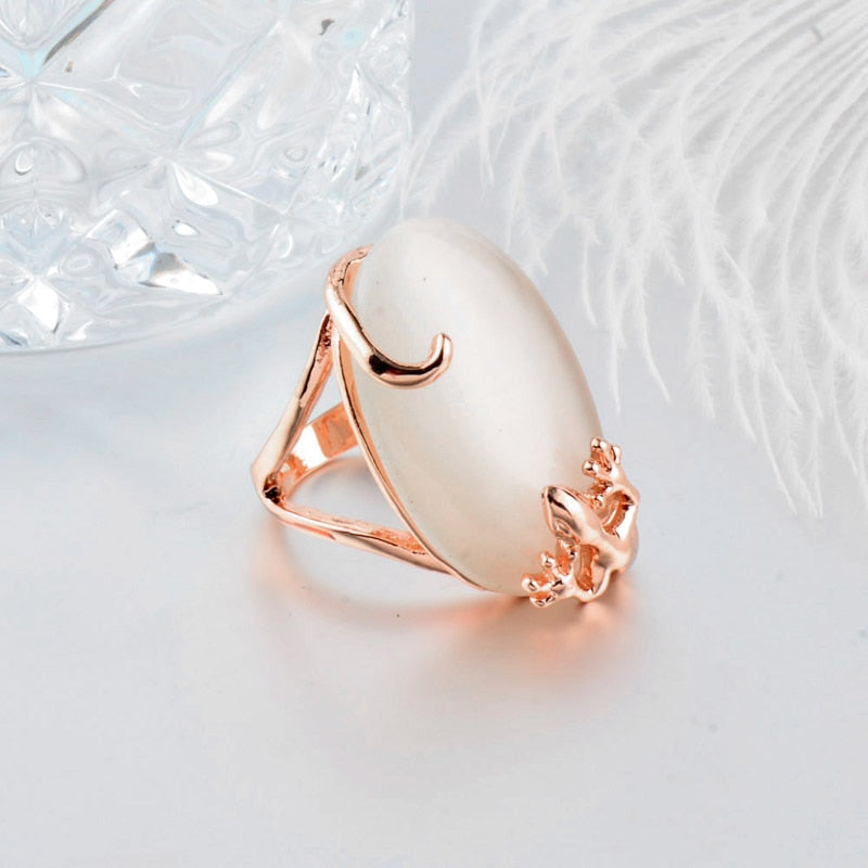 Rose Gold  Vintage Opal Stone Ring