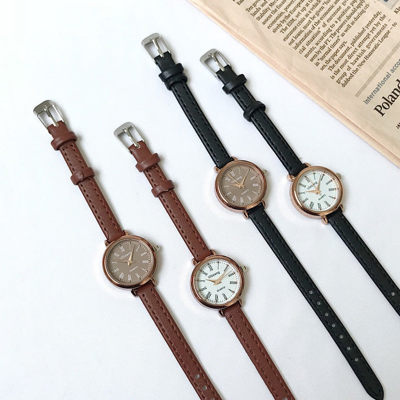 Retro Brown Leather Women Watches