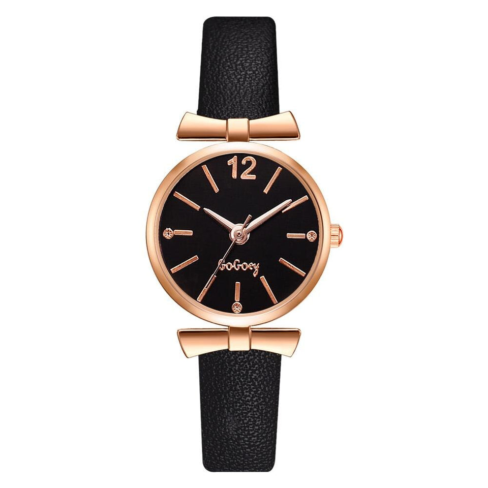 Elegant Bow-Knot Leather Clock Wristwatch