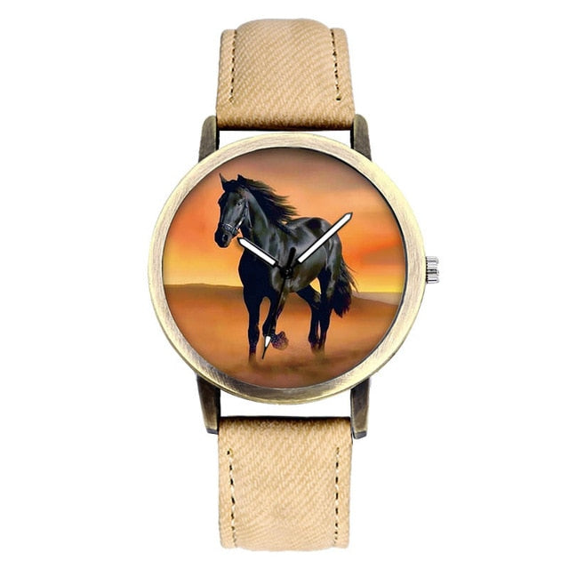 Classic Horse Leather Quartz Wrist Watch