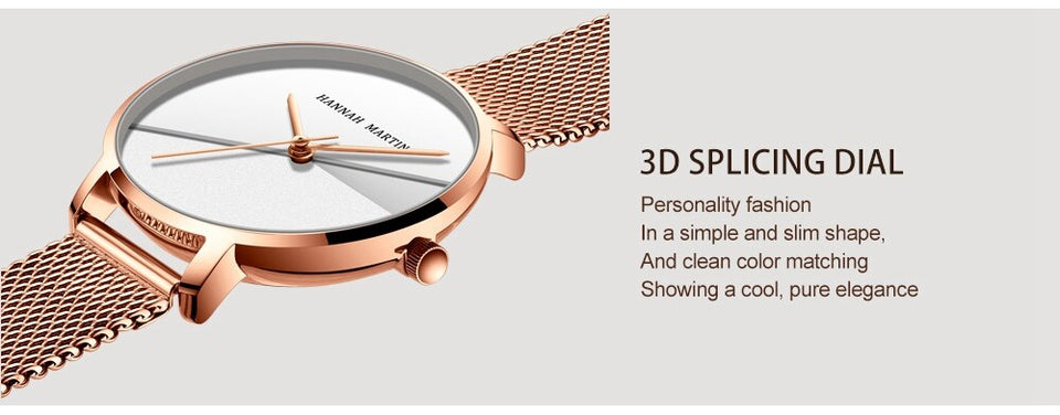 Double Surface Dial Gradient Rose Gold Watch
