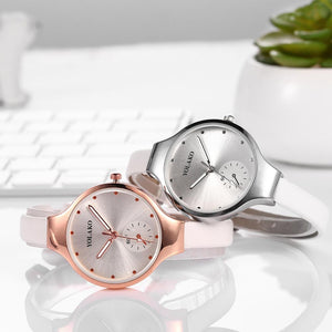 Luxury Pink Leather Quartz Watch