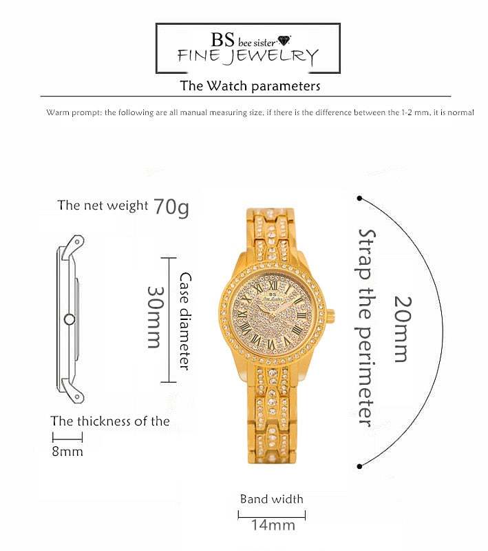 Rose Gold Rhinestone Crystal Watches