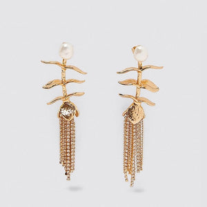 Clear Crystal Long Tassel Drop Earrings