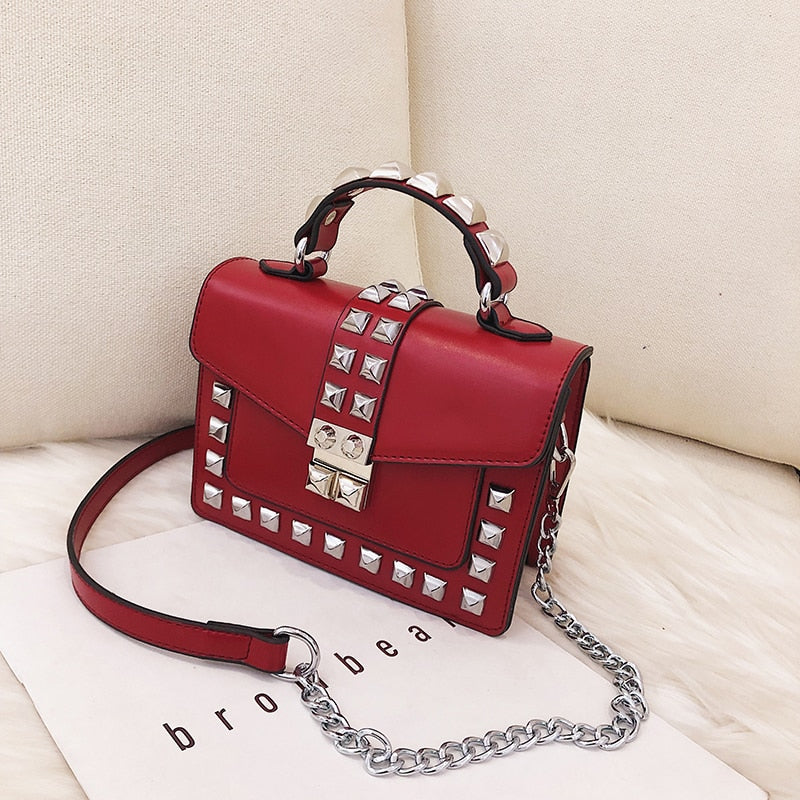 Leather Red Chain Crossbody Bag