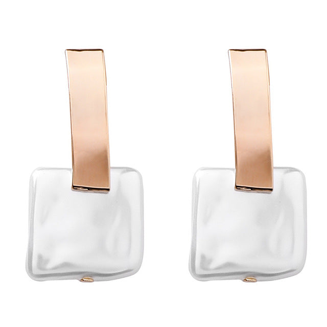 Retro Square Acrylic Pearl Earrings