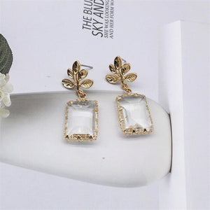 Double Square Crystal Party Earring