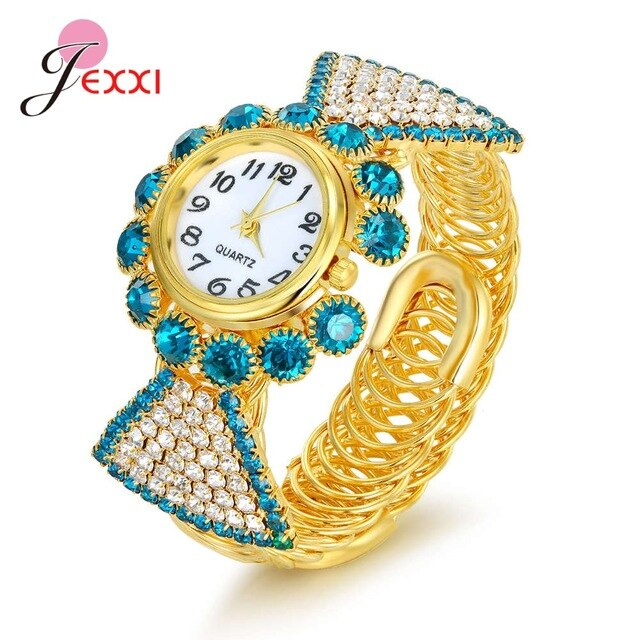 Luxury Multi-color Cubic Zirconia Bracelet Watch